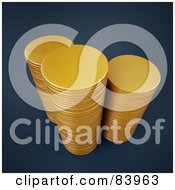 Royalty Free RF Clipart Illustration Of Three 3d Stacks Of Gold Coins