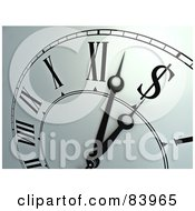 Royalty Free RF Clipart Illustration Of A Closeup Of A Wall Clock Ticking Towards A Dollar Symbol by Mopic