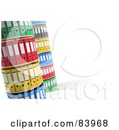 Royalty Free RF Clipart Illustration Of 3d Towers Of Colorful Organized Binders by Mopic