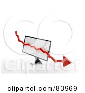Royalty Free RF Clipart Illustration Of A Red 3d Decline Arrow Over A Computer Screen