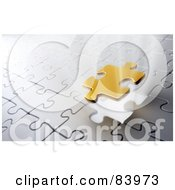 Royalty Free RF Clipart Illustration Of A Golden Puzzle Piece Lowering To Complete A Silver Puzzle