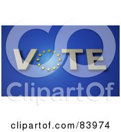 Royalty Free RF Clipart Illustration Of A Circle Of Stars In The Word Vote Over Blue