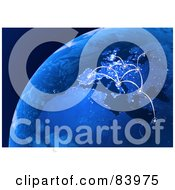 Royalty Free RF Clip Art Illustration Of A 3d Blue Globe With European Connections