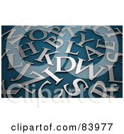 Royalty Free RF Clipart Illustration Of A Background Of Brushed Silver Letters On Teal