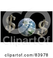 Royalty Free RF Clipart Illustration Of Two Dollar Symbols By Planet Earth by Mopic