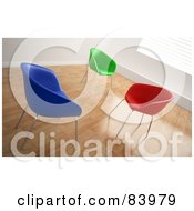 Royalty Free RF Clipart Illustration Of Three Blue Green And Red 3d Seats In A Sunny Room With Wood Floors
