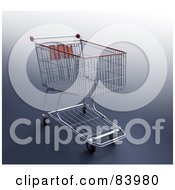 Royalty Free RF Clipart Illustration Of A 3d Metal Shopping Cart With Red Trim Over A Gradient Gray Background by Mopic