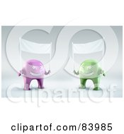 Two 3d Purple And Green Aliens Holding Up Blank Banners