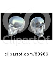 Royalty Free RF Clipart Illustration Of Two Silver 3d Human Skulls Over Black by Mopic