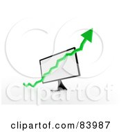 Royalty Free RF Clipart Illustration Of A Green 3d Up Arrow Over A Computer Screen by Mopic