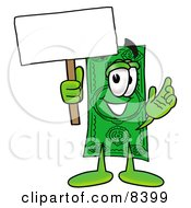 Dollar Bill Mascot Cartoon Character Holding A Blank Sign by Toons4Biz