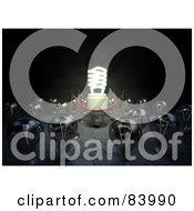 Royalty Free RF Clipart Illustration Of A Crowd Of Round Bulbs Surrounding An Illuminated Spiral Bulb