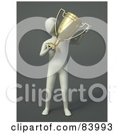 Royalty Free RF Clipart Illustration Of A 3d Human Figure Holding A Golden Trophy Cup