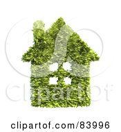 Royalty Free RF Clipart Illustration Of A 3d Leafy House With A Chimney And Windows by Mopic