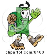 Dollar Bill Mascot Cartoon Character Hiking And Carrying A Backpack by Toons4Biz