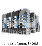 Three Rows Of 3d Server Racks