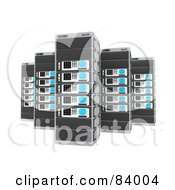 Royalty Free RF Clipart Illustration Of Tall 3d Server Racks by 3poD