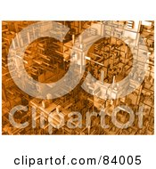 Royalty Free RF Clipart Illustration Of A 3d Orange Cubic Background Of Connections by 3poD