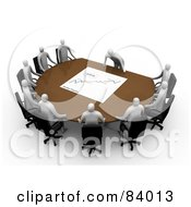 Royalty Free RF Clip Art Illustration Of A 3d Manager Leaning Over A Table At A Meeting Discussing The Stats