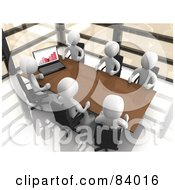 Royalty Free RF Clipart Illustration Of A 3d Conference Room With White People Discussing Statistics At A Table