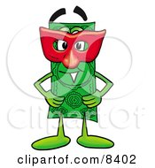 Clipart Picture Of A Dollar Bill Mascot Cartoon Character Wearing A Red Mask Over His Face by Toons4Biz