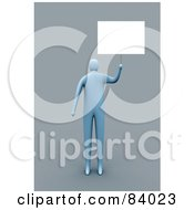 Royalty Free RF Clipart Illustration Of A 3d Blue Person Holding Up A Blank Sign by 3poD