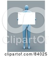Royalty Free RF Clipart Illustration Of A 3d Blue Person Holding A Blank Sign In Front Of His Chest by 3poD