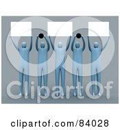 Royalty Free RF Clipart Illustration Of A Group Of 3d Blue People Holding Up Blank Signs And Dots by 3poD