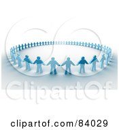 3d Circle Of Blue Paper People Holding Hands On Shaded White