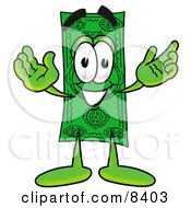 Clipart Picture Of A Dollar Bill Mascot Cartoon Character With Welcoming Open Arms by Toons4Biz #COLLC8403-0015