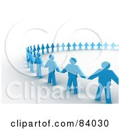Royalty Free RF Clipart Illustration Of A Partial Circle Of 3d Blue Paper People Holding Hands On Shaded White by 3poD