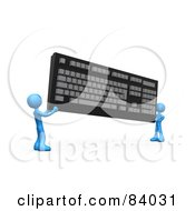 Royalty Free RF Clipart Illustration Of Two 3d Blue People Carrying A Large Computer Keyboard