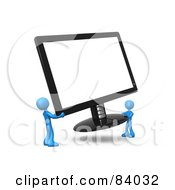 Royalty Free RF Clipart Illustration Of Two 3d Blue People Carrying A Computer Screen