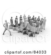 Royalty Free RF Clipart Illustration Of A 3d Group Of Businessmen Listening To Their Boss by 3poD