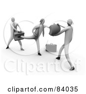 Royalty Free RF Clipart Illustration Of 3d Business Men Learning To Fight by 3poD