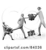 Royalty Free RF Clipart Illustration Of A Cropped Version Of 3d Businessmen Learning To Fight by 3poD
