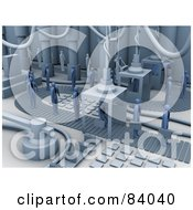 Royalty Free RF Clipart Illustration Of A 3d Factory Turning People Into Businessmen