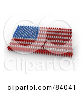 Royalty Free RF Clipart Illustration Of A 3d American Flag Made Of Red Blue And White Paper People by 3poD