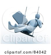 Royalty Free RF Clipart Illustration Of A 3d Businessman Holding Onto His Briefcase And Swinging