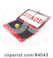 Royalty Free RF Clipart Illustration Of A 3d Red Laptop Computer Propped Open With A Mouse Trap And Fraud On The Screen