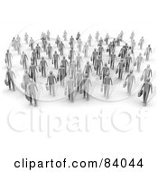 Royalty Free RF Clipart Illustration Of 3d Gray People Walking Forward With Briefcases