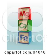 Royalty Free RF Clipart Illustration Of A Stack Of Three Mg Ca And Fe Letter Blocks