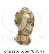 Royalty Free RF Clipart Illustration Of A Brass 3d Statue Of A Human Head With A Brain by Mopic