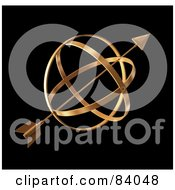 Royalty Free RF Clipart Illustration Of A 3d Gold Arrow Through A Globe Over Black by Mopic