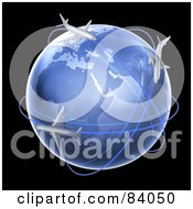 Royalty Free RF Clipart Illustration Of 3d Airplanes Flying Their Routs Around A Globe Over Black