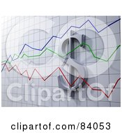 Royalty Free RF Clipart Illustration Of A 3d Dollar Symbol On A Graph With Green Blue And Red Lines by Mopic #COLLC84053-0155