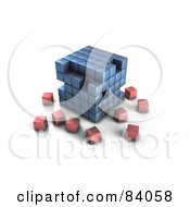 Blue 3d Cubic Structure With Red Cubes Surrounding