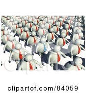 Royalty Free RF Clipart Illustration Of A Waving Man In A Blue Tie Standing Out From Lines Of Clones by Mopic