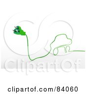 Royalty Free RF Clipart Illustration Of A 3d Green Electric Cable Car With A Plug
