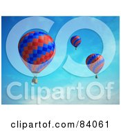 Royalty Free RF Clipart Illustration Of Three 3d Red And Blue Floating Hot Air Balloons In The Sky